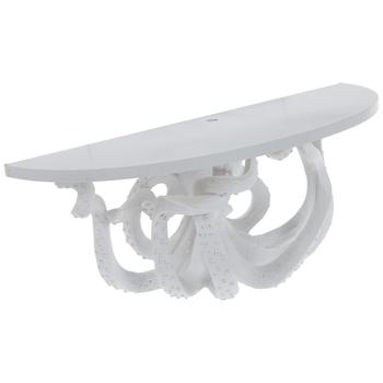 White Octopus Wood Wall Shelf