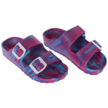 Pink, Blue & Purple Tie Dye Buckle Youth Sandals - Small