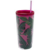 Pink & Green Leaves Cup