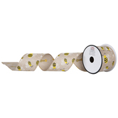 Bee Burlap Wired Edge Ribbon - 2 1/2""