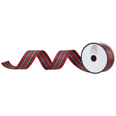 """Red & Green Plaid Wired Edge Ribbon - 1 1/2"""""""
