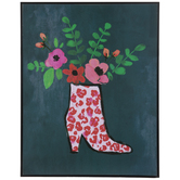 Leopard Boot With Flowers Wood Wall Decor