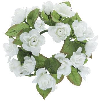 White Mini Rose Candle Ring