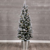 Snowy Pine Pre-Lit Potted Christmas Tree - 4 1/2'