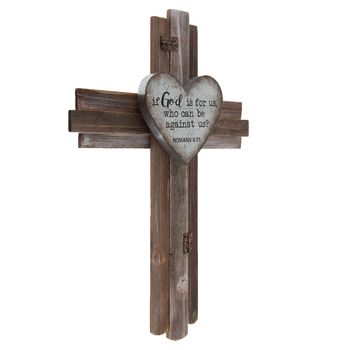 Romans 8:31 Wood Wall Cross