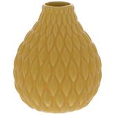 Yellow Ridged Bulbous Vase
