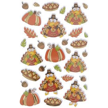 Thanksgiving Turkeys & Pies Foil 3D Stickers