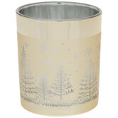 Gold Trees & Reindeer Glass Candle Holder