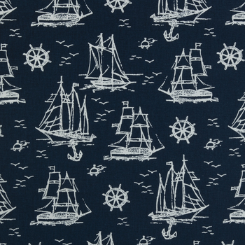 Navy Sailboat Duck Cloth Fabric