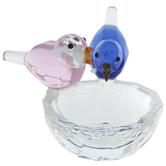 Pink & Blue Bird Glass Jewelry Dish