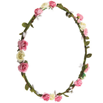 Real dried flower crown with pink,purple and cream real flowers
