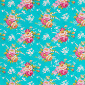 Turquoise Floral Apparel Fabric
