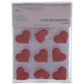 Red Heart Icing Decorations
