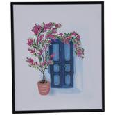 Blue Door & Pink Flowers Wood Wall Decor