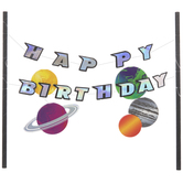 Space Happy Birthday Cake Banner