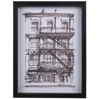 Black Sketched Building Framed Wood Wall Decor