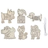 Cat & Dog Ornaments Wood Craft Kit