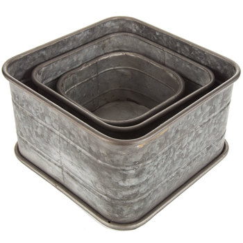 Galvanized Metal Rounded Box Set