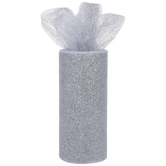 "Silver Glitter Tulle - 6"""