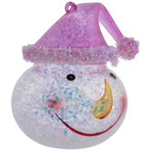 Pink Snowman With Hat Glitter Ornament