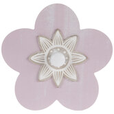 Pink Flower Wood Wall Decor With Knob