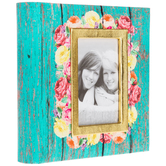 Teal Wood Plank Floral Photo Album - Large