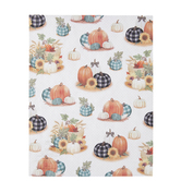 "Plaid Pumpkins On Polka Scrapbook Paper - 8 1/2"" x 11"""