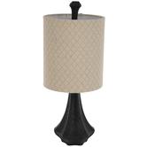Wood Grain Ribbed Pedestal Lamp
