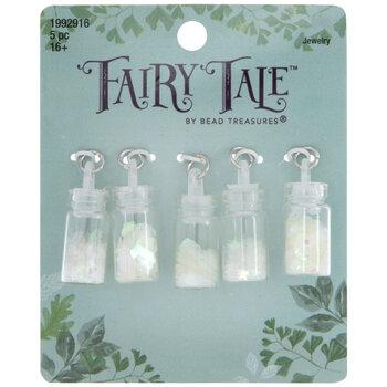 Iridescent White Glitter Bottle Charms