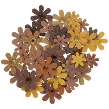 Orange, Yellow & Brown Rhinestone Flower Embellishments