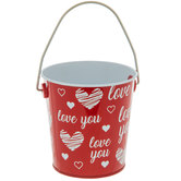 Red & White Love You Metal Bucket