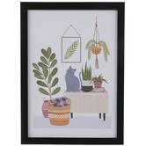 Cat & Plants Wood Wall Decor
