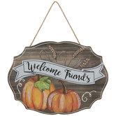 Welcome Friends Pumpkins Wood Wall Decor