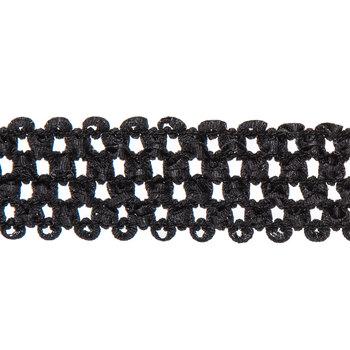"Midnight Black Elastic Headband Ribbon - 1 1/2"""