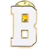 White Letter Metal Pin - B