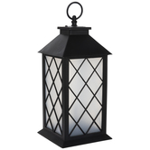 Light Up Black & Frosted Lantern