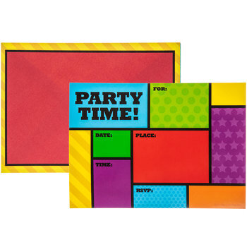 Primary Party Time Color Block Fill-In Invitations