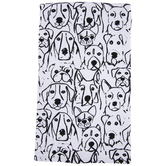 White & Black Sketched Dogs Kitchen Towel