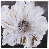 White & Gold Flower Canvas Wall Decor