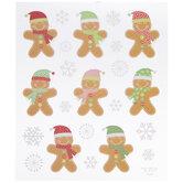 Gingerbread Men Glitter Stickers