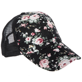 Black Floral Mesh Baseball Cap