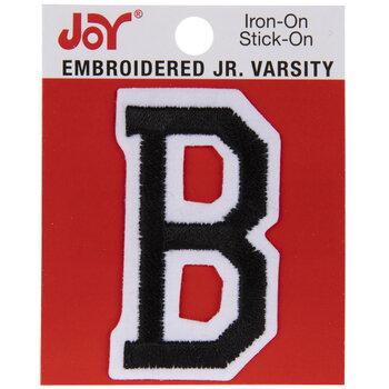 "Black Junior Varsity Letter Iron-On Applique B - 2"""