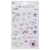 Pastel Flowers Puffy Stickers