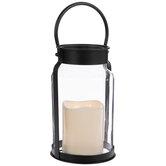 White Candle & Black Metal Lantern