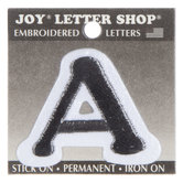 "Black Letter Iron-On Applique A - 1 1/2"""