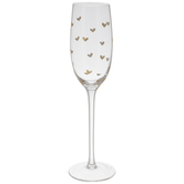 Flute Stemmed Glass With Gold Hearts