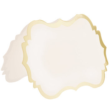 White & Gold Ornate Place Cards