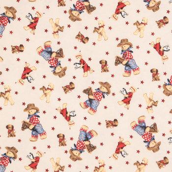 Cowboy Teddy Bear Flannel Fabric