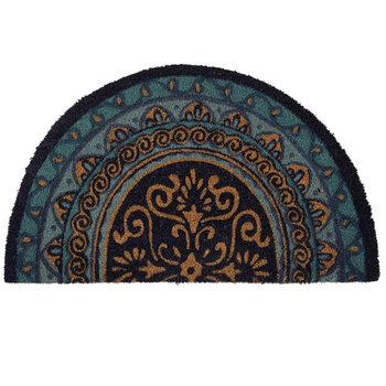 Blue Mandala Half Circle Coir Doormat