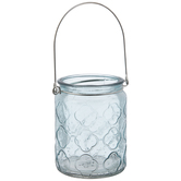 Gray Blue Quatrefoil Glass Lantern